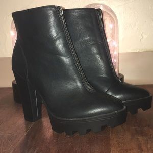 MIA Pointed Toe Front Zipper Chunky Heeled Boots